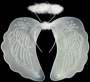 WHITE FAIRY WINGS HALO WAND ANGEL BUTTERFLY FANCY DRESS LADIES GIRL HEN NIGHT