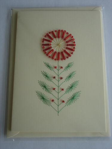 Cousue main carte d/'anniversaire ou toute occasion rouge perles fleur carte d/'anniversaire