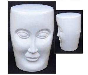 Ceramic Face Stool Garden Seat 46cm White Side Table Lamp