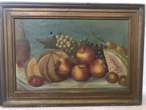 🔥 Antique 19th c. American Folk Art Oil Painting - New England School, Maine