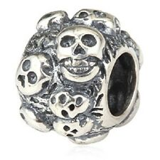 Skull Goth Genuine 925 Sterling Silver Charm Bead For European Bracelet