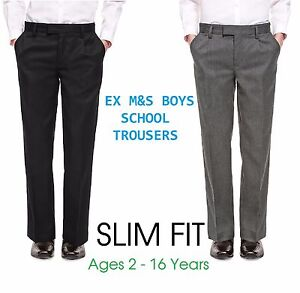 Ex-M-amp-S-Boys-Black-Grey-School-Trousers-Slim-Fit-Age-6-7-8-9-10-11-12-13-14-15-16