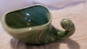Vintage Pottery Unmarked Med Green  Cornucopia Very Nice