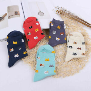 5-Socks-Sock-Women-Mini-Cute-Soft-Ladies-Cat-Cats-Colors-Face-Socks-UK-2019