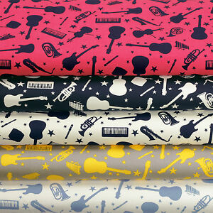 Cotton-Fabric-by-FQ-Guitar-Violin-Saxophone-French-Horn-Electone-Music-Star-VK68