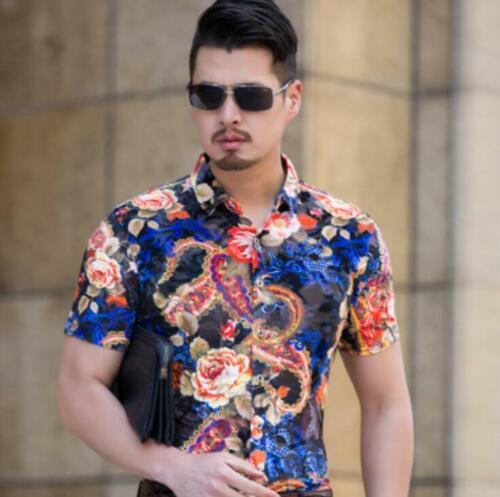 Men/'s Summer Casual Floral Plaid Short Sleeve Lapel Shirts T-Shirt Tops Hollow
