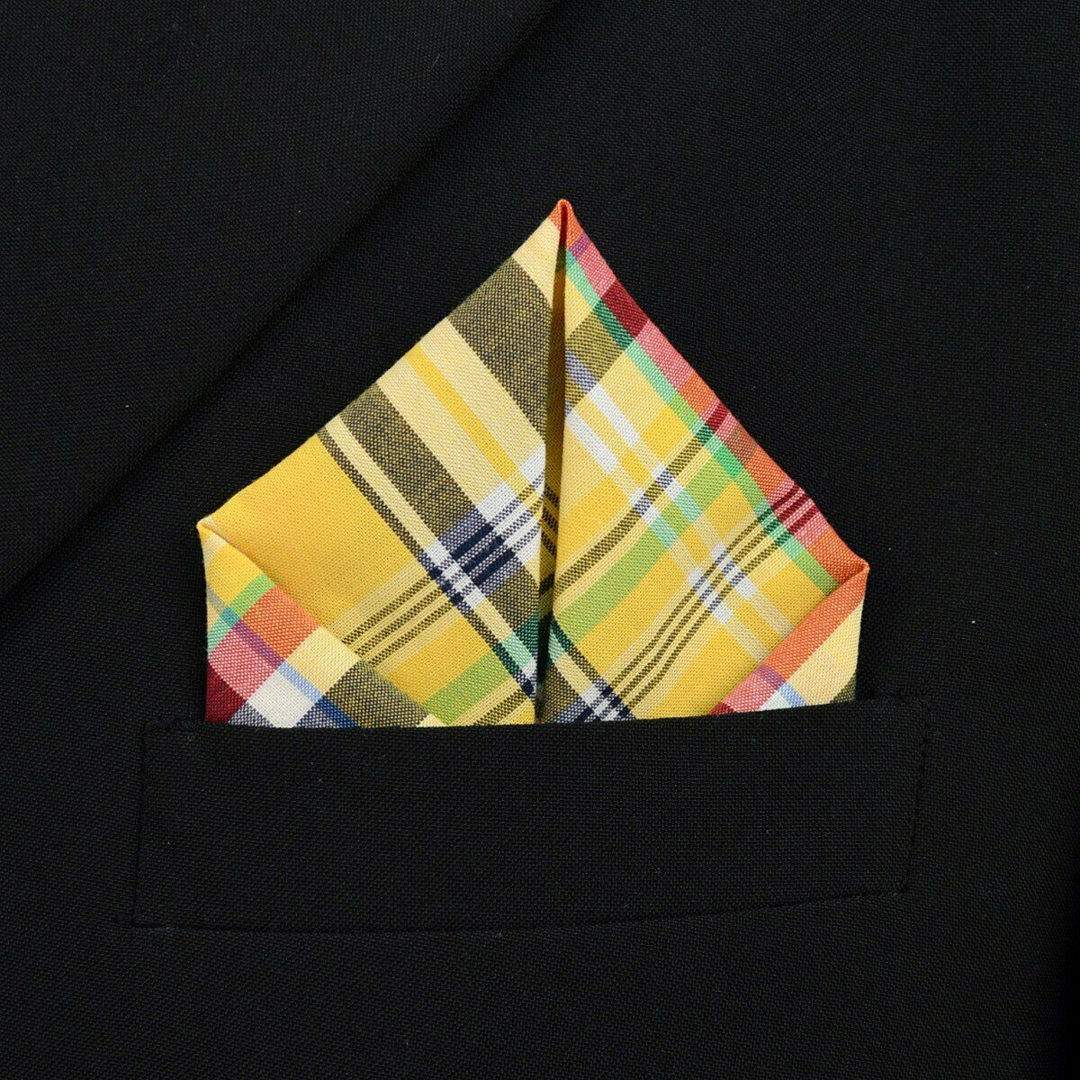 100% Cotton Quality Plaid Pocket Square Stitched edges Fashion Handkerchiefs