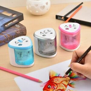 Student-Electric-Pencil-Sharpener-Double-Hole-Automatic-Pencil-Planer-Battery-D0