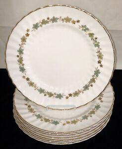 8-Royal-Doulton-PIEDMONT-BLUE-LEAVES-W-GOLD-10-1-2-034-DINNER-PLATES-H4967