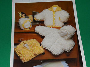 Babies-loopy-jackets-hat-and-bolero-size-16-24-knitting-pattern