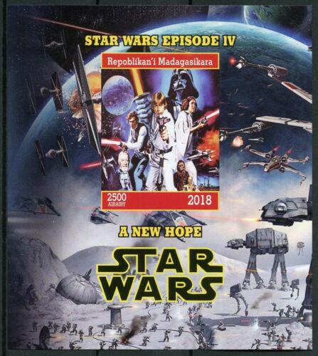 Madagascar 2018 MNH Star Wars New Hope Darth Vader Luke Leia 1v IMPF M/S Stamps