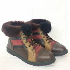 VTG Womens Fur Trimmed Tan Brown Genuine Leather Lace Ankle Boots EU 37 UK 4