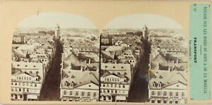 ALLEMAGNE-Francfort-Panorama-Photo-Furne-et-Tournier-Stereo-Albumine-ca-1860