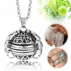 Expanding-Photo-Locket-Necklace-Silver-Ball-Angel-Wing-Pendant-Memorial-Gift-SH