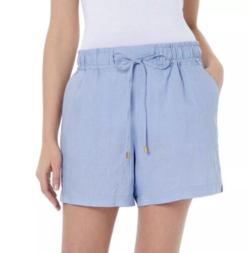 NWT Women/'s ELLEN TRACY Chambray Linen Drawstring Shorts Size Large L