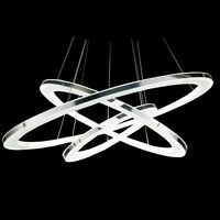LED Integrated Acrylic Shade 3Rings Pendant Lamp Ceiling Lighting Chandelier