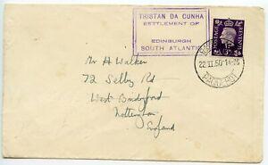 TRISTAN-DA-CUNHA-1950-GB-3d-MEF-pmk-CAPETOWN-PAQUEBOT-TdaC-SETTLEMENT-cachet