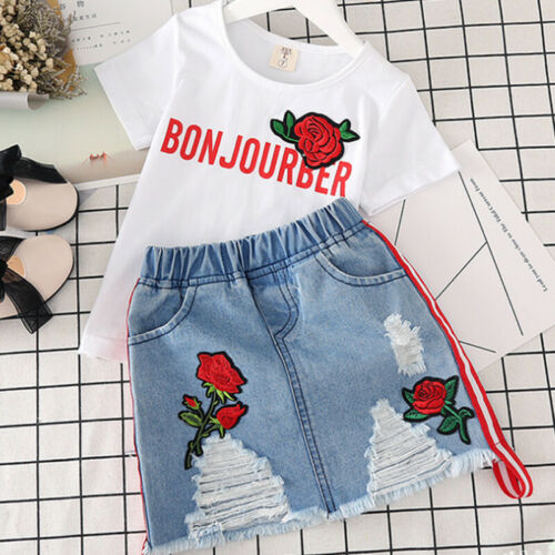 Girl Summer Clothes Set Embroidery Denim Jean Ripped Dresses Causal Shirt Outfit