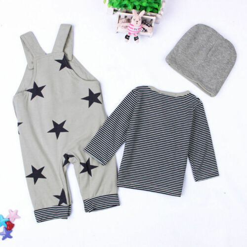 Toddler Kids Baby Boys Outfits Hat+T-shirt+straps pants Clothes Outfit 0-24M