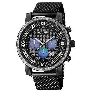 New-Men-039-s-Akribos-XXIV-AK713BK-Diamond-Pave-Dial-Chronograph-SS-Mesh-Watch
