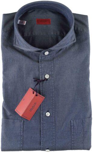 40 Handmade Shirt Nwt Isaia 3 Luxury Pinpoint 4 Blue 15 Italy qBxU0