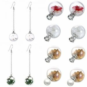 1d60613f1 Nature Dried Flower Stone Lady Crystal Pearl Glass Ear Stud Dangle ...