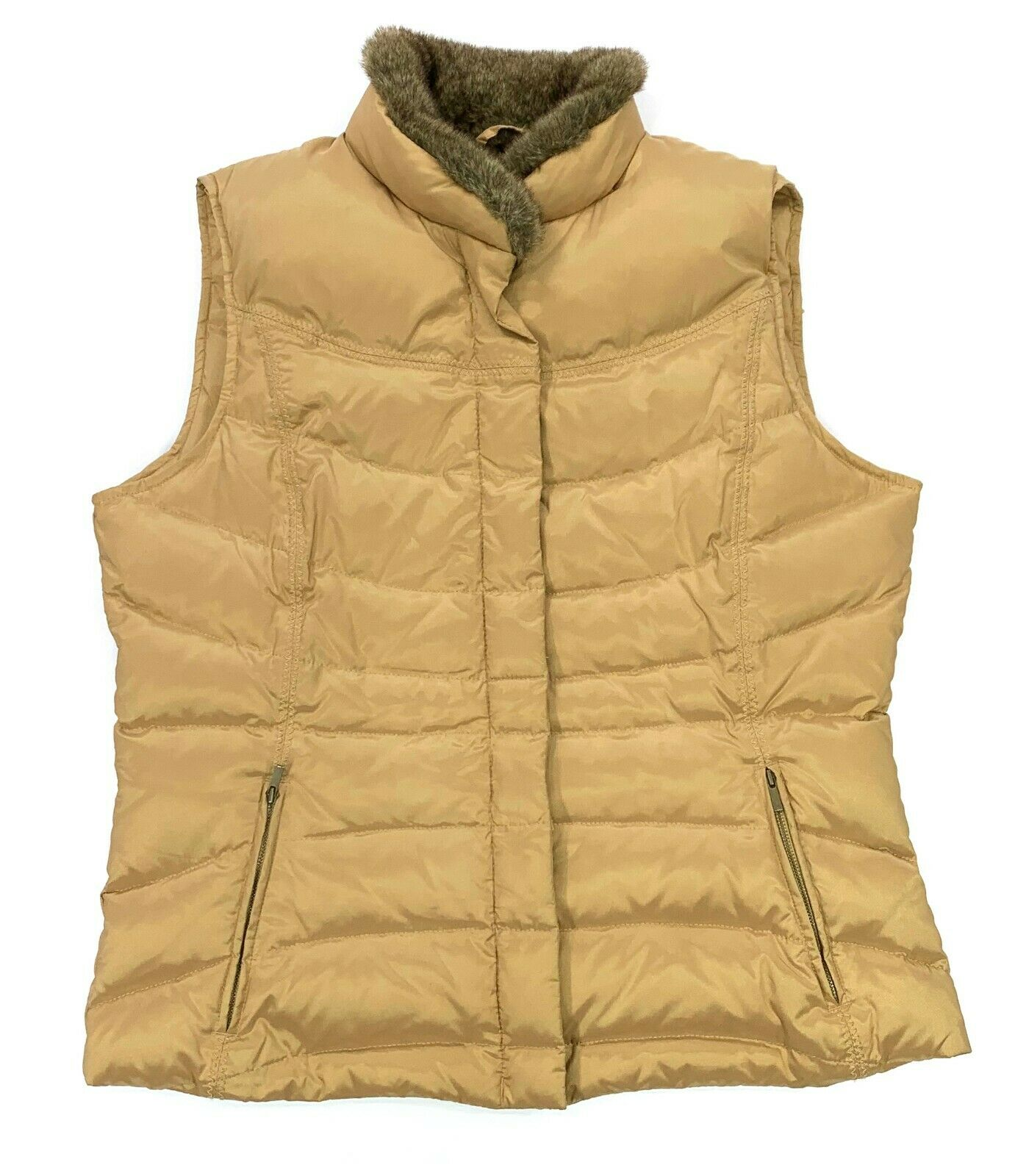 Eddie Bauer Sz L Tan Down Quilted Puffer Vest Faux Fur