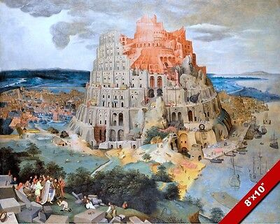 TOWER OF BABEL OLD TESTAMENT OIL PAINTING BIBLE ART GICLEE PRINT ON REAL CANVAS