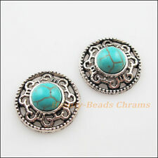 6Pcs Retro Tibetan Silver Turquoise Flower Charms Pendants Connectors 18mm