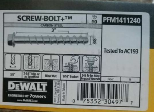 "PFM1411240 Concrete Anchor Screw 3/"" x 3//8/"" QTY 50 SCREWS PER BOX"