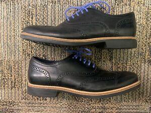Cole Haan Great Jones Wing Tip Shoes  Black Leather C11233 Men's Size 12.0M