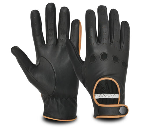 Premium Quality Women's Slim Fit Leather Driving Gloves Vintage Retro Style