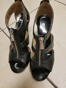 6f75c852d9d5f Image is loading Michael-Kors-Berkley-T-Strap-Black-Heels-Leather-