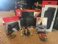 Nintendo Switch Bundle - 32GB Gray Console, Zelda, Pro Controller, BOTW amiibo