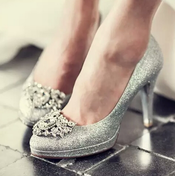 2pcs/set Silver Rhinestone Crystals Wedding Bridal Rhinestone Shoe Clips Charms