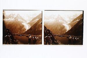 Montagne-Neige-France-Suisse-Photo-Stereo-L1n24-Plaque-de-verre-Vintage