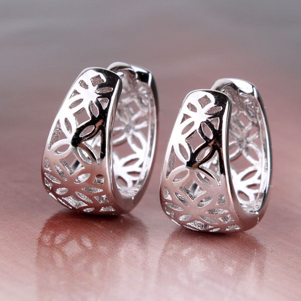 18k white gold filled classic design hollow hoop earring wedding accessory