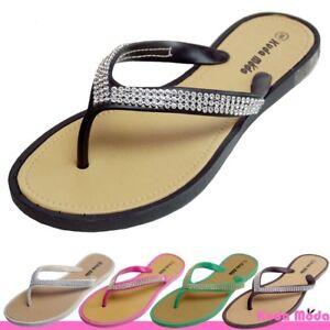 Women-039-s-Summer-Bling-Shinning-Casual-Thong-Flat-Flip-Flops-Sandals-Slipper