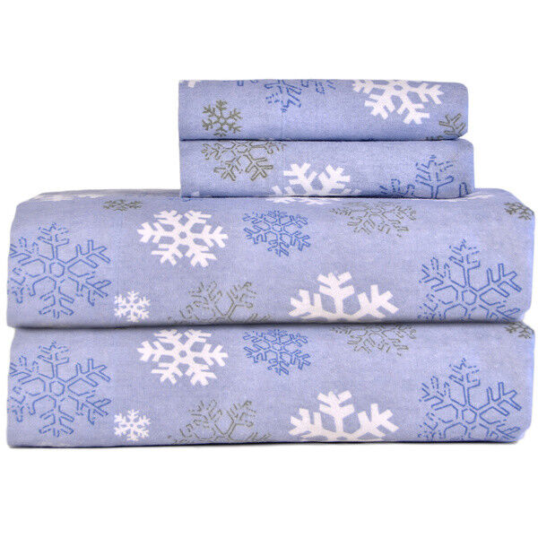 Cozy and Warm Winter Snowflakes Flannel Sheet Set (Full Größe)