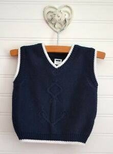 78f01a9bf979 JANIE   JACK Sz 3 6m Navy Blue White Nautical Anchor Sweater Vest ...