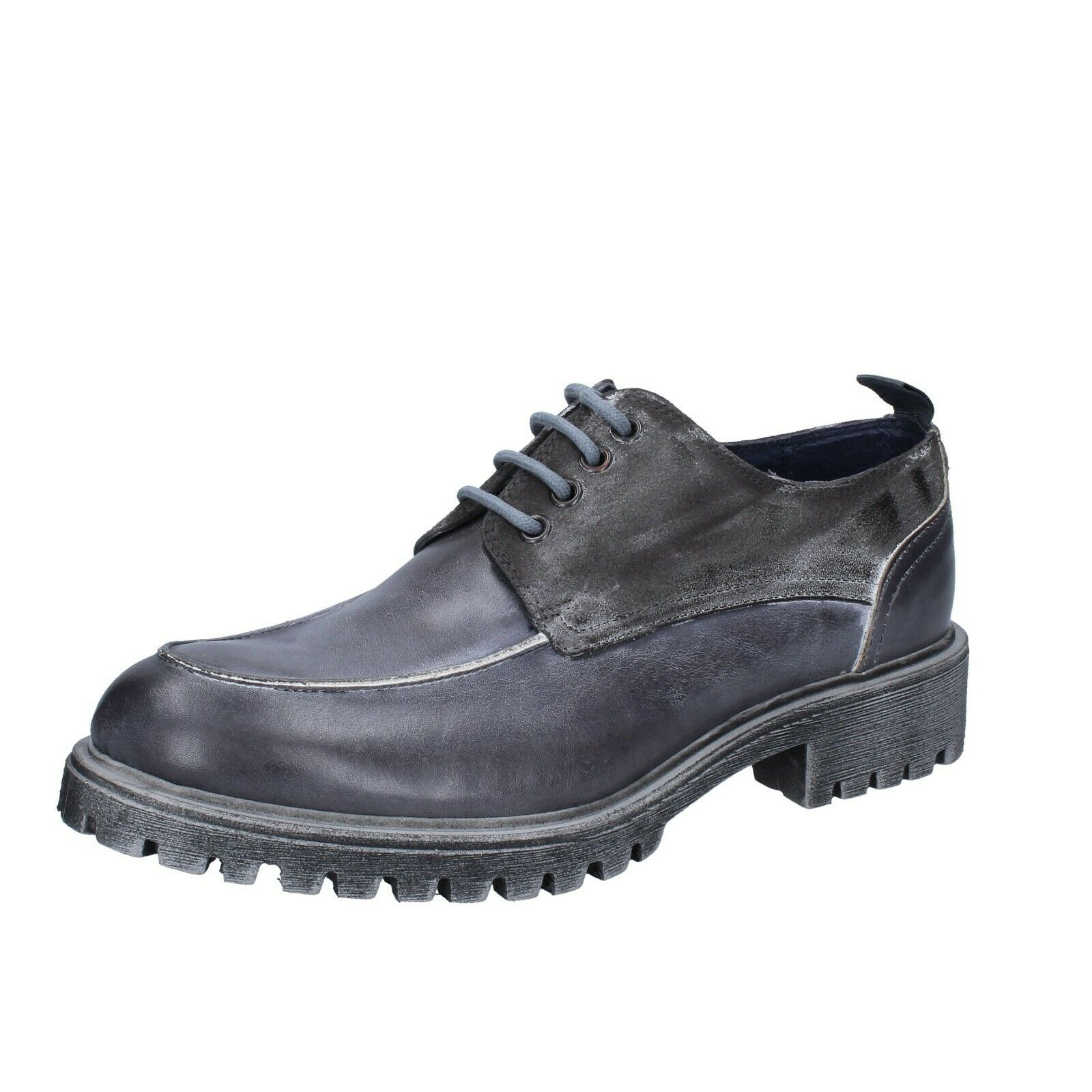 Mens shoes OSSIANI 6 (EU 40) elegant grey leather BS722-40