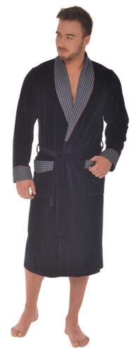 M-XXL Men/'s mi-poids velours robe de chambre bleu marine avec Dogtooth Trim