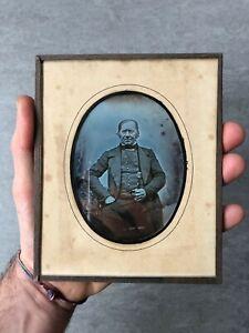 early French daguerreotype 1845 man cane 4th plate daguerreotypie daguerrotipo