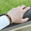 Luxe Hommes Micro Pave Zircone cubique Couronne Bracelet Breloque Bijoux Tendance Mat Agate Bead 8 mm
