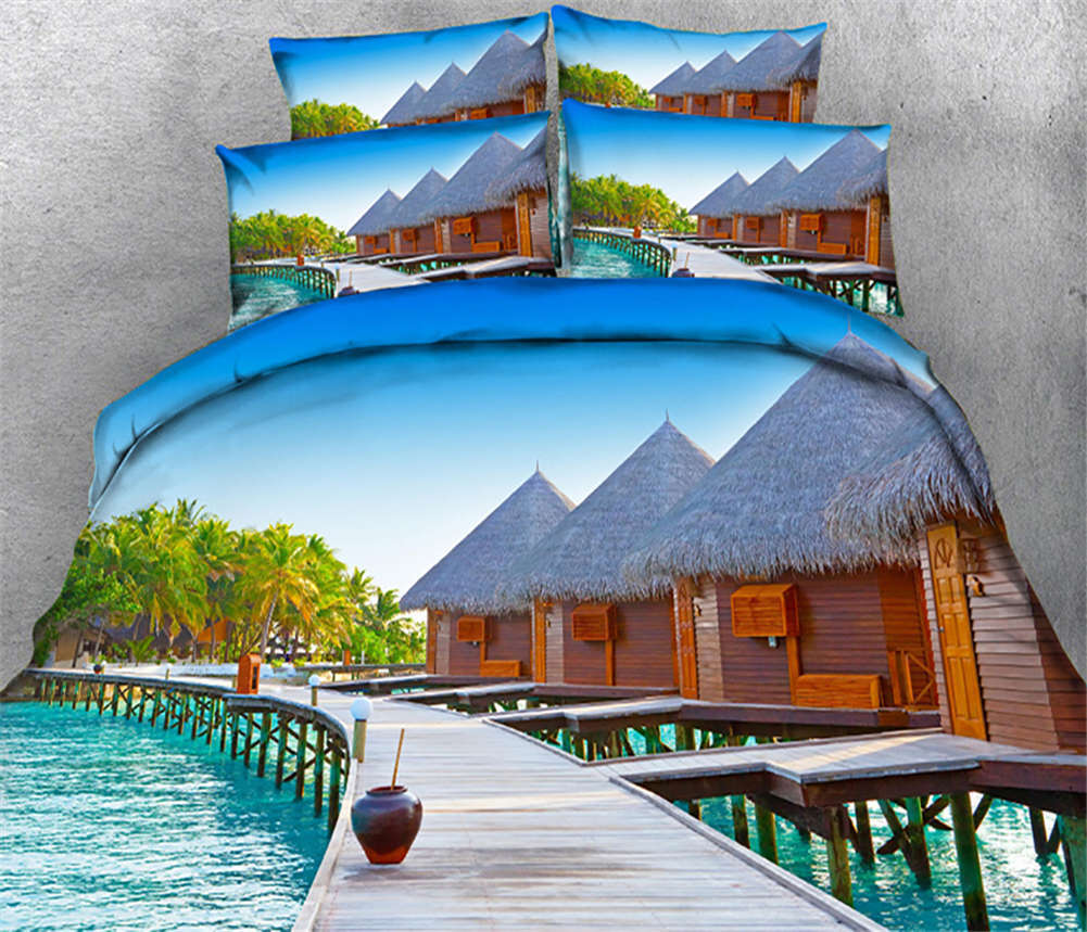 Alluring Waterscape 3D Printing Duvet Quilt Doona Covers Pillow Case Bedding Set