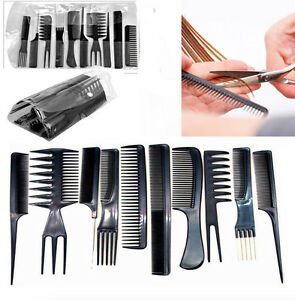 Details about 10 Comb Set Hair Kit Brush Styling Cutting Color Tail Barber  Salon Hairdressing