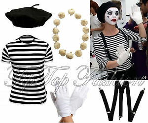 LADIES french Mime Artist fancy dress 3 PIECE Costume BLACK BERET BRACES GLOVES