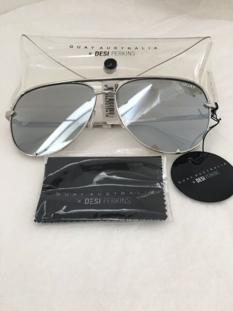 New Quay Australia Desi Perkins High Key Aviator Mirrored Women Sunglasses