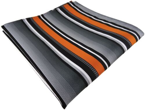 Größe 30 x 30 cm TigerTie Einstecktuch in orange silber grau weiss gestreift