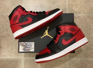 New Nike Air Jordan 1 Retro Mid Banned Red Black Bred 2020 Basketball Mens Size